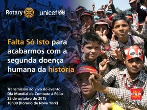 A erradicação da poliomielite é uma das maiores prioridades do Rotary, requerendo a imunização de todas as crianças menores de 5 anos de idade do mundo.